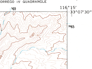Reduced fragment of topographic map en--usgs--024k--048509--(1959)--N033-07-30_W116-22-30--N033-00-00_W116-15-00