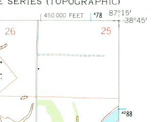 Reduced fragment of topographic map en--usgs--024k--048531--(1958)--N038-45-00_W087-22-30--N038-37-30_W087-15-00; towns and cities Wheatland
