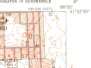 Reduced fragment of topographic map en--usgs--024k--048538--(1954)--N041-52-30_W088-07-30--N041-45-00_W088-00-00; towns and cities Wheaton, Downers Grove, Glen Ellyn, Lombard, Lisle