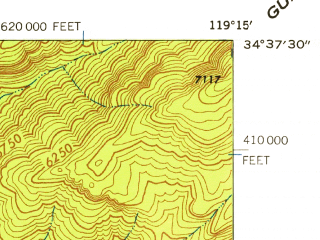 Reduced fragment of topographic map en--usgs--024k--048562--(1942)--N034-37-30_W119-22-30--N034-30-00_W119-15-00