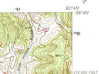 Reduced fragment of topographic map en--usgs--024k--048565--(1961)--N038-45-00_W082-52-30--N038-37-30_W082-45-00; towns and cities Wheelersburg