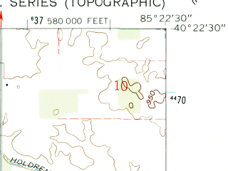 Reduced fragment of topographic map en--usgs--024k--048569--(1960)--N040-22-30_W085-30-00--N040-15-00_W085-22-30
