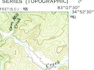 Reduced fragment of topographic map en--usgs--024k--048574--(1961)--N034-52-30_W083-15-00--N034-45-00_W083-07-30