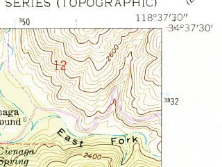 Reduced fragment of topographic map en--usgs--024k--048614--(1958)--N034-37-30_W118-45-00--N034-30-00_W118-37-30