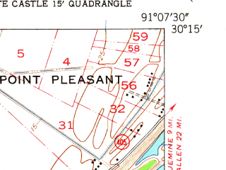 Reduced fragment of topographic map en--usgs--024k--048639--(1953)--N030-15-00_W091-15-00--N030-07-30_W091-07-30; towns and cities White Castle