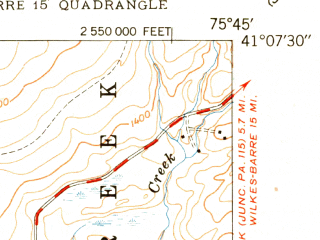 Reduced fragment of topographic map en--usgs--024k--048675--(1950)--N041-07-30_W075-52-30--N041-00-00_W075-45-00; towns and cities East Side, Penn Lake Park, White Haven