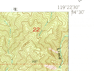 Reduced fragment of topographic map en--usgs--024k--048704--(1952)--N034-30-00_W119-30-00--N034-22-30_W119-22-30