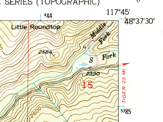 Reduced fragment of topographic map en--usgs--024k--048714--(1952)--N048-37-30_W117-52-30--N048-30-00_W117-45-00