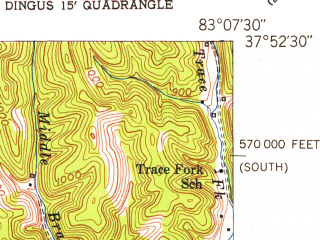 Reduced fragment of topographic map en--usgs--024k--048719--(1951)--N037-52-30_W083-15-00--N037-45-00_W083-07-30