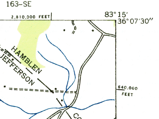 Reduced fragment of topographic map en--usgs--024k--048729--(1935)--N036-07-30_W083-22-30--N036-00-00_W083-15-00; towns and cities Baneberry, White Pine