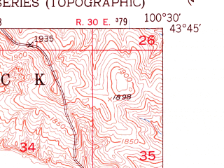 Reduced fragment of topographic map en--usgs--024k--048746--(1951)--N043-45-00_W100-37-30--N043-37-30_W100-30-00