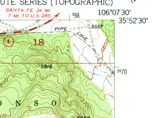 Reduced fragment of topographic map en--usgs--024k--048753--(1952)--N035-52-30_W106-15-00--N035-45-00_W106-07-30; towns and cities White Rock