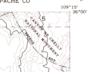 Reduced fragment of topographic map en--usgs--024k--048763--(1955)--N036-00-00_W109-22-30--N035-52-30_W109-15-00