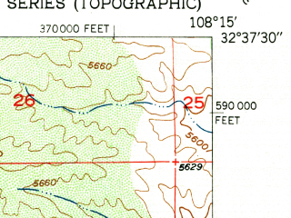 Reduced fragment of topographic map en--usgs--024k--048777--(1951)--N032-37-30_W108-22-30--N032-30-00_W108-15-00