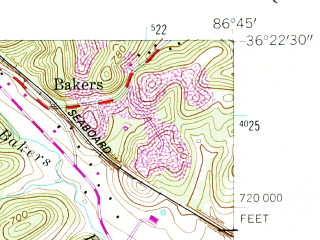 Reduced fragment of topographic map en--usgs--024k--048834--(1955)--N036-22-30_W086-52-30--N036-15-00_W086-45-00