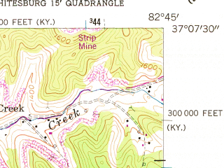 Reduced fragment of topographic map en--usgs--024k--048841--(1954)--N037-07-30_W082-52-30--N037-00-00_W082-45-00; towns and cities Whitesburg