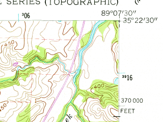 Reduced fragment of topographic map en--usgs--024k--048861--(1959)--N035-22-30_W089-15-00--N035-15-00_W089-07-30; towns and cities Whiteville