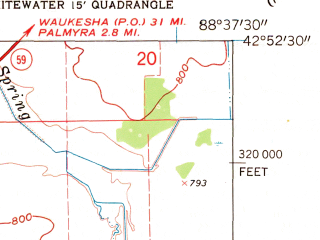 Reduced fragment of topographic map en--usgs--024k--048870--(1960)--N042-52-30_W088-45-00--N042-45-00_W088-37-30; towns and cities Whitewater