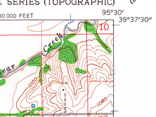 Reduced fragment of topographic map en--usgs--024k--048886--(1961)--N039-37-30_W095-37-30--N039-30-00_W095-30-00; towns and cities Muscotah, Whiting