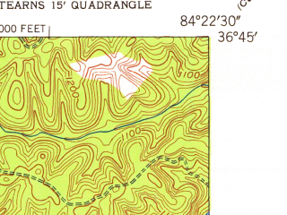 Reduced fragment of topographic map en--usgs--024k--048891--(1952)--N036-45-00_W084-30-00--N036-37-30_W084-22-30; towns and cities Pine Knot, Stearns, Whitley City