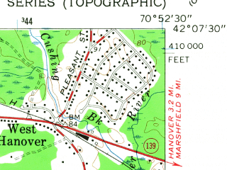 Reduced fragment of topographic map en--usgs--024k--048898--(1962)--N042-07-30_W071-00-00--N042-00-00_W070-52-30; towns and cities Abington