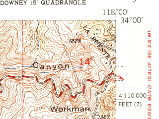 Reduced fragment of topographic map en--usgs--024k--048930--(1951)--N034-00-00_W118-07-30--N033-52-30_W118-00-00; towns and cities Norwalk, Pico Rivera, Whittier, La Mirada, South Whittier