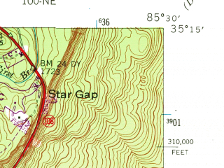 Reduced fragment of topographic map en--usgs--024k--048933--(1946)--N035-15-00_W085-37-30--N035-07-30_W085-30-00; towns and cities Whitwell