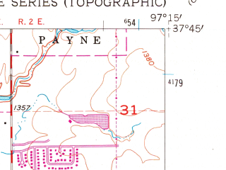 Reduced fragment of topographic map en--usgs--024k--048940--(1961)--N037-45-00_W097-22-30--N037-37-30_W097-15-00; towns and cities Wichita, Eastborough