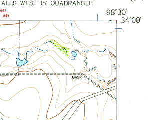 Reduced fragment of topographic map en--usgs--024k--048941--(1957)--N034-00-00_W098-37-30--N033-52-30_W098-30-00; towns and cities Wichita Falls, Pleasant Valley