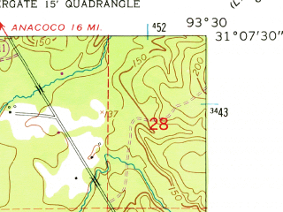 Reduced fragment of topographic map en--usgs--024k--048970--(1954)--N031-07-30_W093-37-30--N031-00-00_W093-30-00