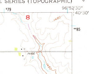Reduced fragment of topographic map en--usgs--024k--048984--(1957)--N040-30-00_W097-00-00--N040-22-30_W096-52-30; towns and cities De Witt, Wilber