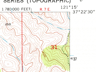 Reduced fragment of topographic map en--usgs--024k--048999--(1956)--N037-22-30_W121-22-30--N037-15-00_W121-15-00