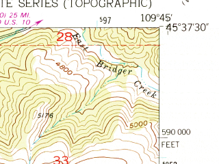 Reduced fragment of topographic map en--usgs--024k--049044--(1955)--N045-37-30_W109-52-30--N045-30-00_W109-45-00