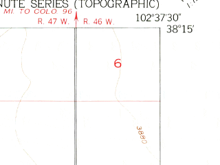 Reduced fragment of topographic map en--usgs--024k--049096--(1955)--N038-15-00_W102-45-00--N038-07-30_W102-37-30; towns and cities Wiley
