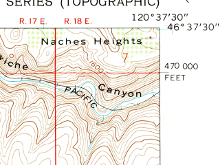 Reduced fragment of topographic map en--usgs--024k--049097--(1958)--N046-37-30_W120-45-00--N046-30-00_W120-37-30