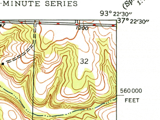 Reduced fragment of topographic map en--usgs--024k--049128--(1948)--N037-22-30_W093-30-00--N037-15-00_W093-22-30; towns and cities Willard