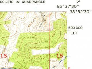 Reduced fragment of topographic map en--usgs--024k--049144--(1957)--N038-52-30_W086-45-00--N038-45-00_W086-37-30