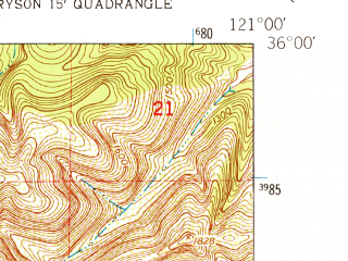 Reduced fragment of topographic map en--usgs--024k--049147--(1949)--N036-00-00_W121-07-30--N035-52-30_W121-00-00