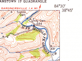 Reduced fragment of topographic map en--usgs--024k--049194--(1950)--N038-45-00_W084-37-30--N038-37-30_W084-30-00; towns and cities Dry Ridge, Williamstown
