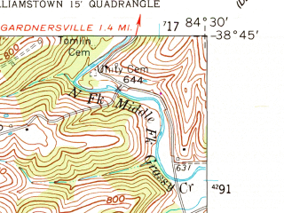 Reduced fragment of topographic map en--usgs--024k--049194--(1961)--N038-45-00_W084-37-30--N038-37-30_W084-30-00; towns and cities Dry Ridge, Williamstown