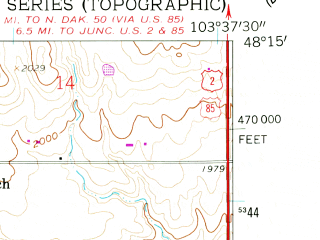 Reduced fragment of topographic map en--usgs--024k--049213--(1959)--N048-15-00_W103-45-00--N048-07-30_W103-37-30; towns and cities Williston