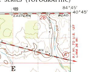 Reduced fragment of topographic map en--usgs--024k--049281--(1960)--N040-45-00_W084-52-30--N040-37-30_W084-45-00; towns and cities Willshire
