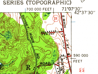 Reduced fragment of topographic map en--usgs--024k--049293--(1950)--N042-37-30_W071-15-00--N042-30-00_W071-07-30; towns and cities Burlington, Wilmington, Pinehurst