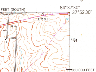 Reduced fragment of topographic map en--usgs--024k--049300--(1952)--N037-52-30_W084-45-00--N037-45-00_W084-37-30; towns and cities Wilmore