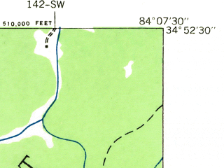 Reduced fragment of topographic map en--usgs--024k--049311--(1935)--N034-52-30_W084-15-00--N034-45-00_W084-07-30; towns and cities Morganton