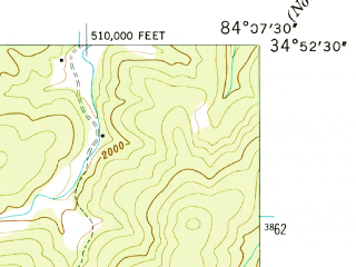 Reduced fragment of topographic map en--usgs--024k--049311--(1946)--N034-52-30_W084-15-00--N034-45-00_W084-07-30; towns and cities Morganton