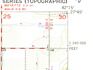 Reduced fragment of topographic map en--usgs--024k--049365--(1956)--N027-45-00_W082-22-30--N027-37-30_W082-15-00; towns and cities Sun City Center, Wimauma