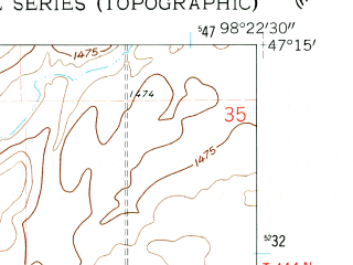 Reduced fragment of topographic map en--usgs--024k--049367--(1961)--N047-15-00_W098-30-00--N047-07-30_W098-22-30; towns and cities Wimbledon