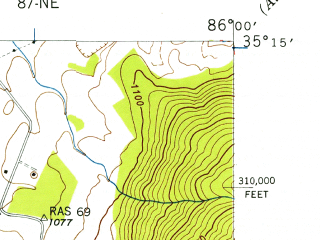 Reduced fragment of topographic map en--usgs--024k--049382--(1947)--N035-15-00_W086-07-30--N035-07-30_W086-00-00; towns and cities Winchester, Cowan, Decherd