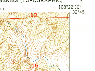 Reduced fragment of topographic map en--usgs--024k--049395--(1951)--N032-45-00_W108-30-00--N032-37-30_W108-22-30